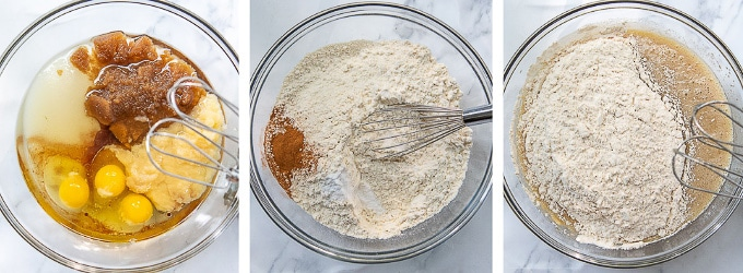 images showing how to make apple cake batter