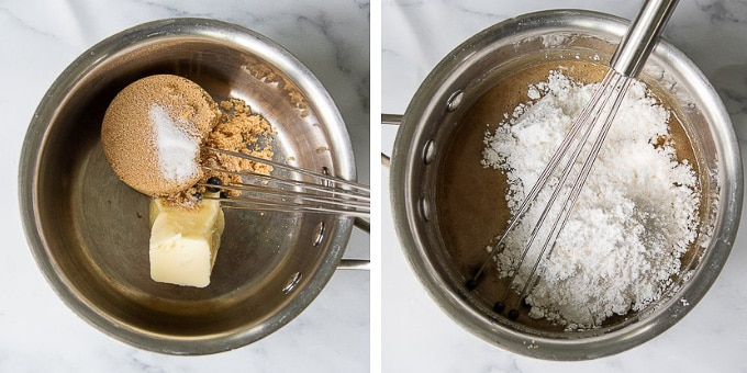 images showing how to make brown sugar praline glaze for apple cake