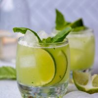 a cocktail glass with fresh lime slices showing through the side of the glass