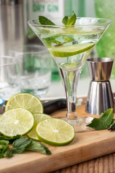 a gimlet martini in with freshly cut limes all around it
