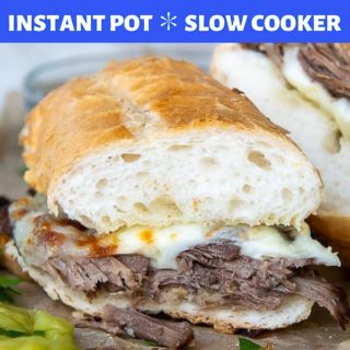 instant pot or slow cooker french dip pinterest pin