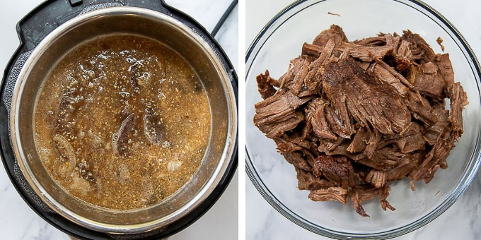 images showing how to make french dip in the instant pot