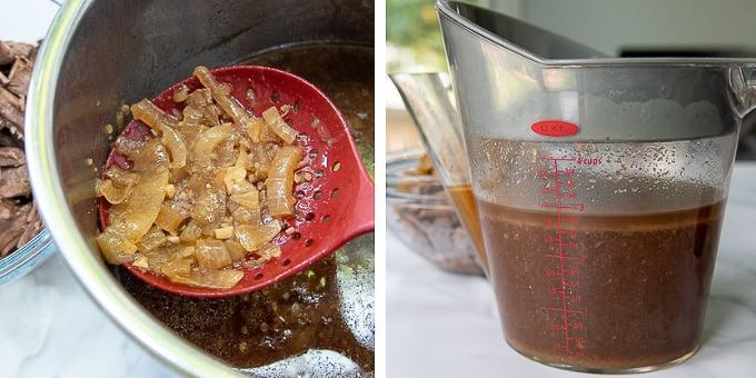images showing how to make au jus for french dip