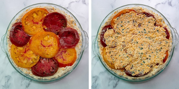 images showing how to layer tomatoes in tomato pie recipe