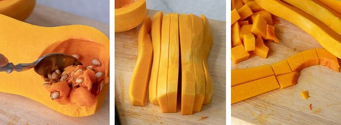 images showing how to cut a butternut squash for pasta sauce