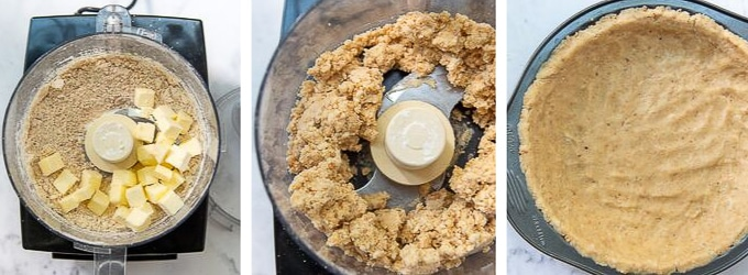 images showing how to make peanut press in crust for snickers pie