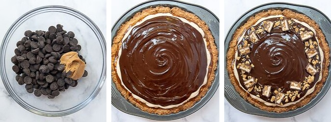 images showing how to layer snickers pie