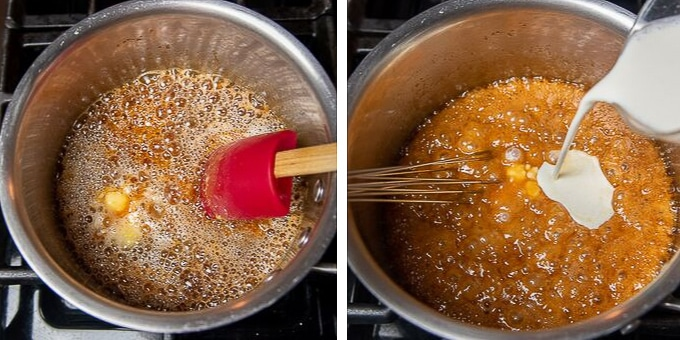 images showing how to make salted caramel for snickers pie