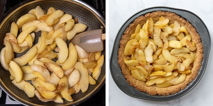 images showing how to make apple filling for snickers pie