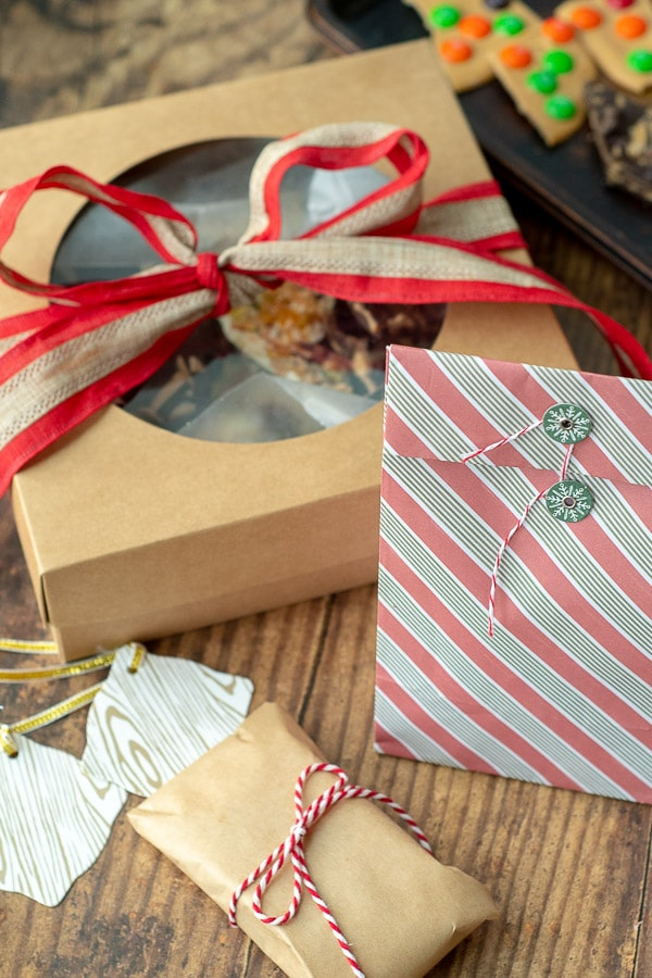 images showing how to wrap white chocolate bark as a gift