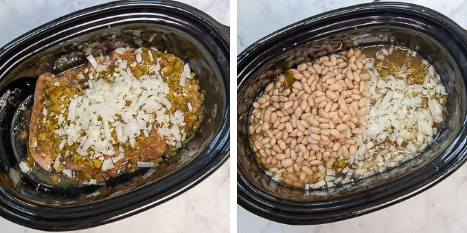 images showing how to make slow cooker white chicken chili