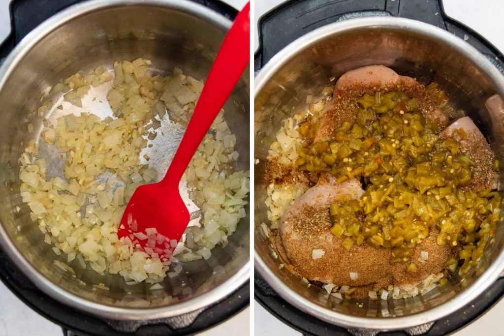 images showing how to make instant pot white chicken chili