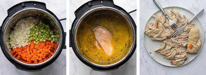 images showing how to make chicken and dumplings