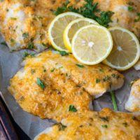 parmesan crusted tilapia on a baking sheet with lemon slices on top