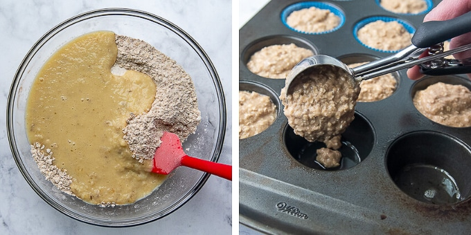 images showing how to make applesauce muffins