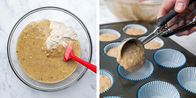 images showing how to make gluten free banana muffins