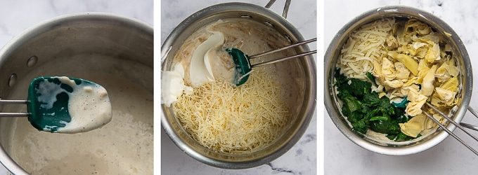 images showing how to make spinach artichoke dip
