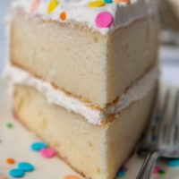straight on shot of a slice of vanilla cake