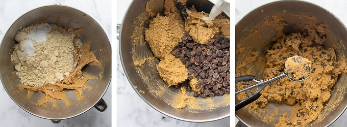 images showing steps of how to make almond flour chocolate chip cookies