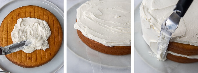 images showing how to frost a layer cake with buttercream