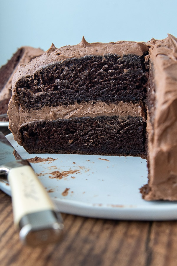 a chocolate layer cake sliced to show inside