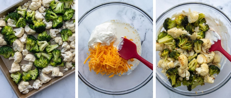images showing how to make broccoli and cauliflower casserole