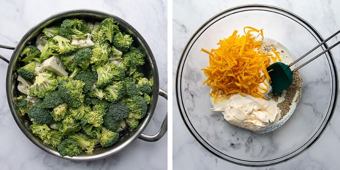 images showing how to make cauliflower broccoli casserole