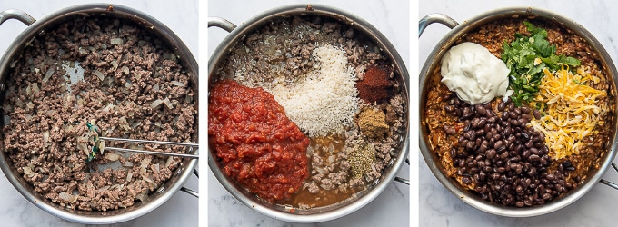 images showing how to make filling for mexican peppers