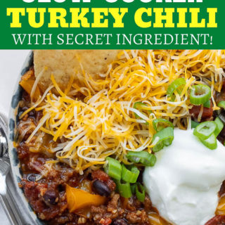 best slow cooker turkey chili pin