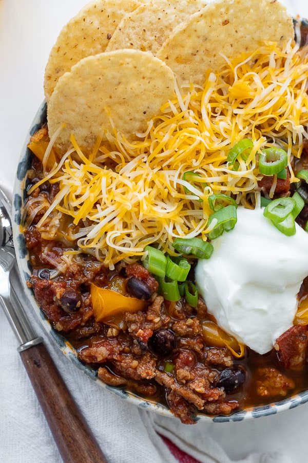 close up overhead shot of turkey chili in a bowl