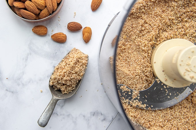 image showing how to make almond meal in food processor