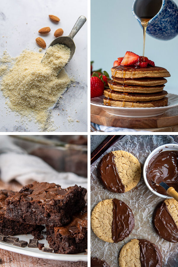 collage of recipes using almond flour