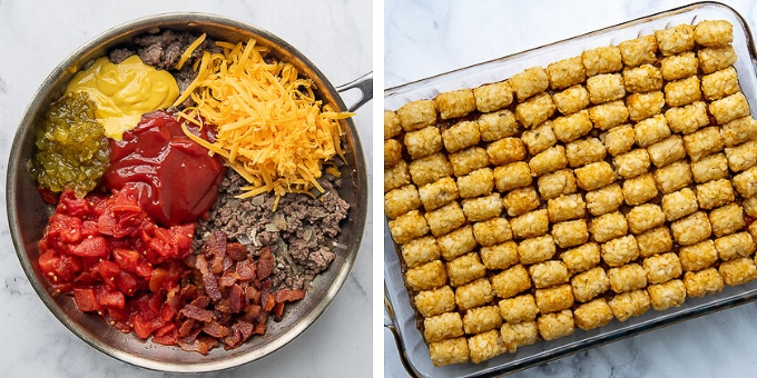 images showing how to put tater tots on the casserole