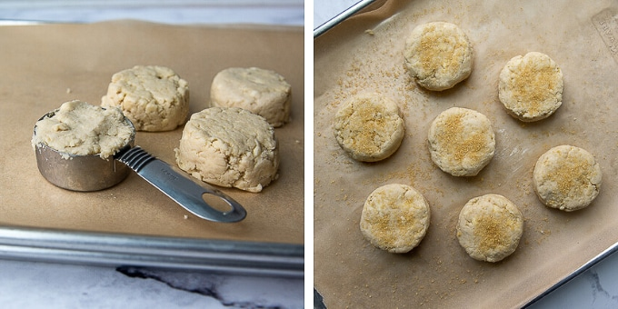 images showing how to drop biscuits on baking sheet and sprinkle with sugar