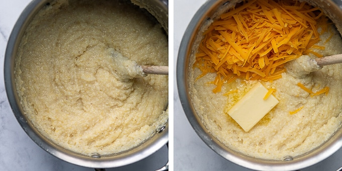 images showing how to cook grits for grit cakes