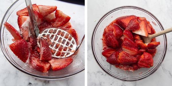 a potato masher crushing strawberries and stirring in fresh strawberries