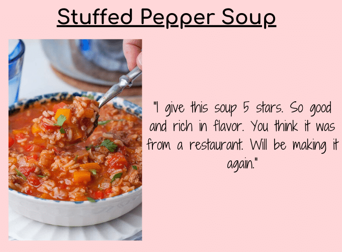 stuffed pepper soup testimonial