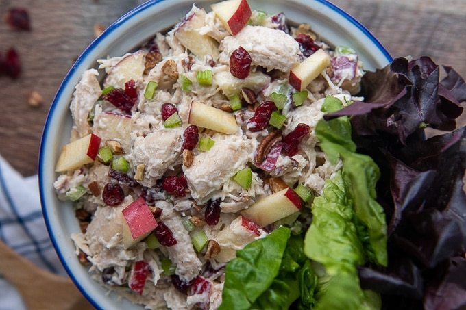 overhead shot of cranberry chicken salad in a bowl with lettuce leaves