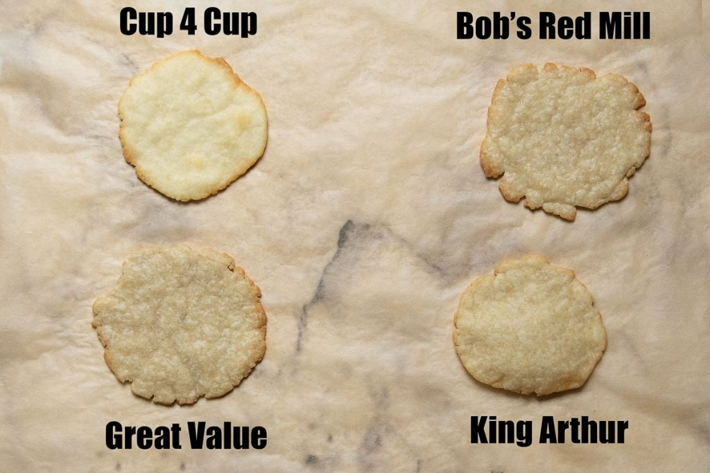 image showing samples of pie crust baked with different gluten free flour
