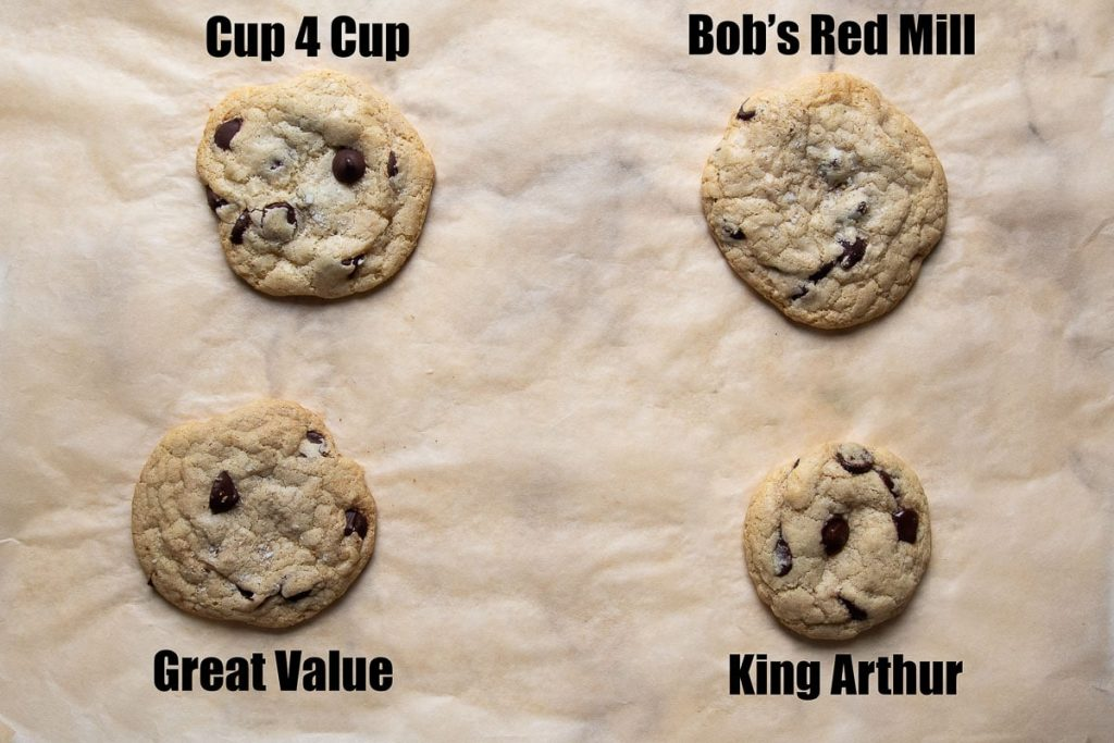 image showing samples of cookies baked with different gluten free flour