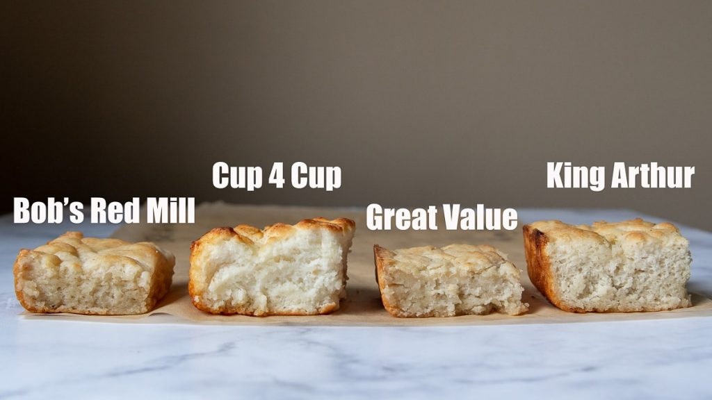 side angle shot showing height of biscuits baked with different gluten free flour