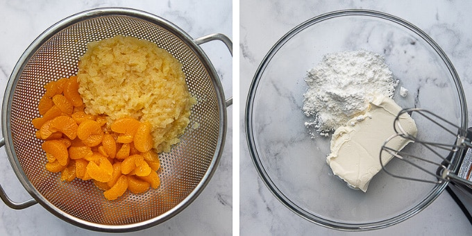draining fruit for salad and beating together cream cheese with powdered sugar