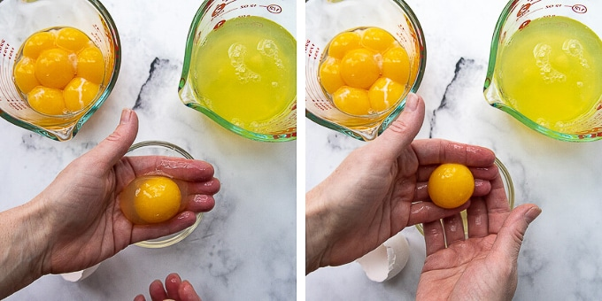 showing how to separate egg yolks from whites
