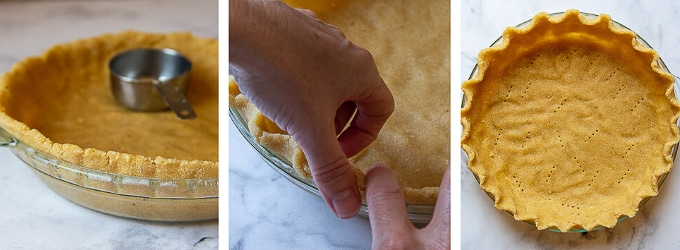 images showing how to press and shape pie crust in the dish