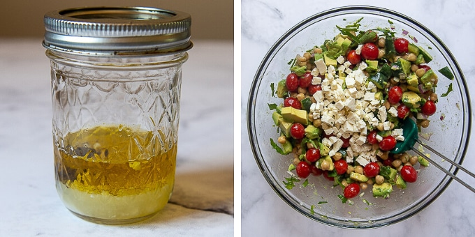 images showing how to make dressing and and chickpea avocado salad