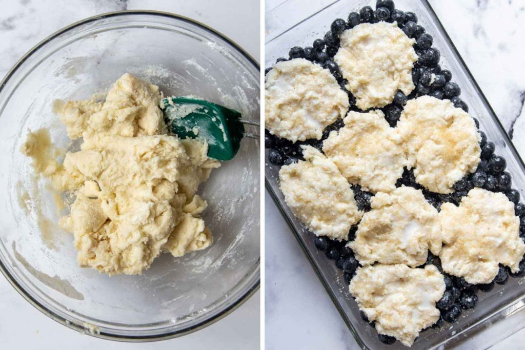 images showing dough being mixed and biscuit rounds on top of uncooked blueberries