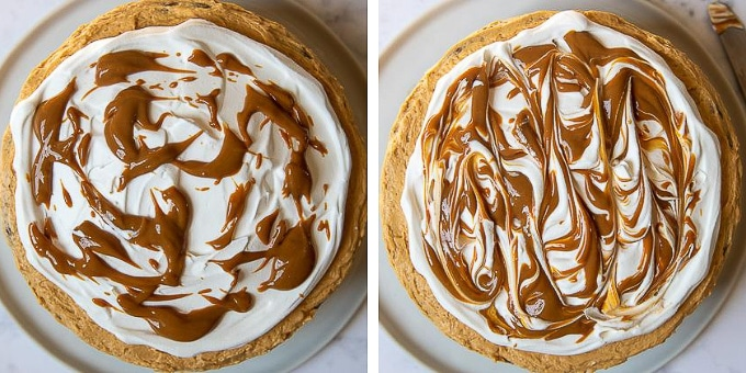 images showing how to swirl frosting on banoffee cake