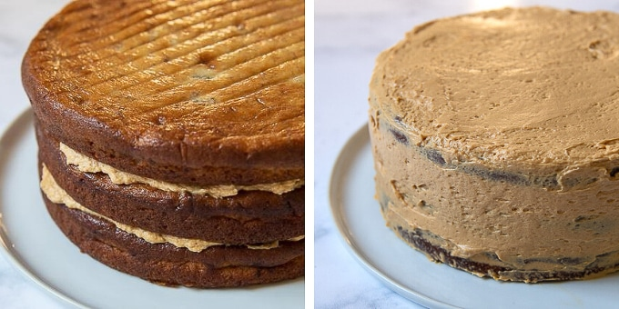 images showing how to assembly banoffee layer cake