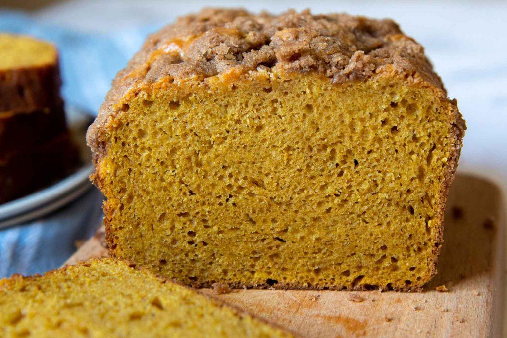 pumpkin bread sliced open