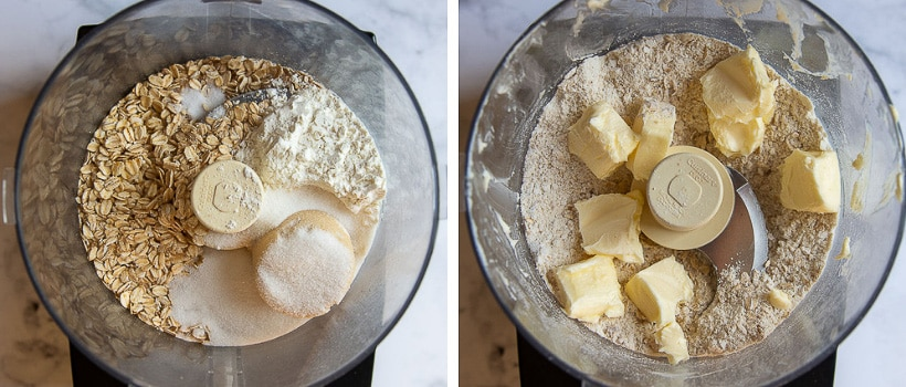 images showing how to make oat topping in a food processor